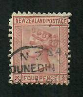 NEW ZEALAND 1874 Victoria 1st First Sideface 4d Maroon. - 10022 - Used