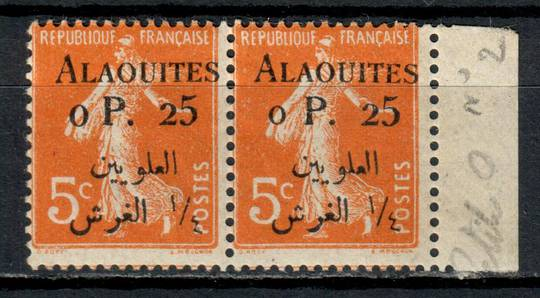 ALAOUITES 1925 Definitive 0p25 on 5c Orange. Pair one with the small 0. - 11001 - Mint