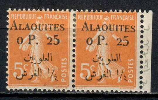 ALAOUITES 1925 Definitive 0p25 on 5c Orange. Pair one with the small L. - 11002 - Mint