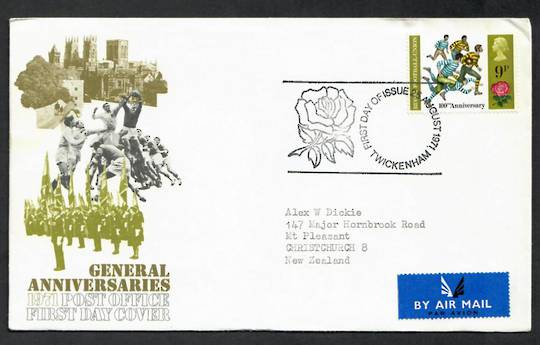 GREAT BRITAIN 1971Rugby on first day cover postmarked TWICKENHAM. - 130324 - FDC