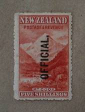 NEW ZEALAND 1898 Pictorial Official 5/- Mt Cook.This is a splendid UHM copy nicely centred. - 20005 - UHM