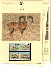 AFGHANISTAN 1998 World Wildlife Fund Urial. S Set of 4 in joined pairs  in mint never hinged and on first day covers with 6 page