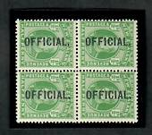 NEW ZEALAND 1909 Edward 7th Official ½d Green in block of four. Two VLHM and two UHM. - 20125 - Mixed