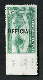 NEW ZEALAND 1898 Pictorial Official 2/- Green. Copy at right margin. Brilliant colour. Faint gum creases. Well above average. -