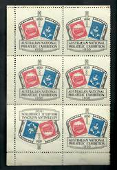 AUSTRALIA 1950 Australian National Philatelic Exhibition. Cinderella in block of six with one tete-bech pair. - 20609 - Cinderel