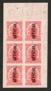 NEW ZEALAND 1909 1d Universal Official. Booklet Pane. Imperf at the bottom. Mint never hinged. Pencil identification 10.