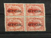 NEW ZEALAND 1910 1d Dominion Official. Block of 4 offset on the reverse. Perfect from the front but there are slight creases vis