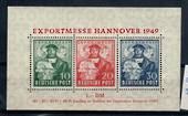 ALLIED OCCUPATION of GERMANY 1949 British and American Zones. Hanover Trade Fair. Miniature sheet of three values. Has full gum