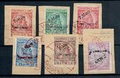 ALBANIA 1914 Arrival of Prince William. Set of 6 on piece cancelled VLONE in red dated 9/3/1914. Date of issue 7/3/1914. - 21401