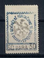 "ALBANIA 1913 30 para in blue initialled on back"" Bk"" in fancy script. On laid paper from edge of sheet. - 21412 - Mint"