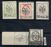 ALBANIA 1913 set of five on laid paper. 30 para has part of papermakers watermark. - 21413 - MNG