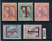 ALBANIA 1914 Postage Due. Set of 5. Large T handstamp and takse. All with either 1 or 2 authentication marks on back. - 21417 -