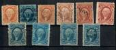 USA Revenue Stamps. George Washington. 10 items. All different and in good condition. - 21532 - Fiscal