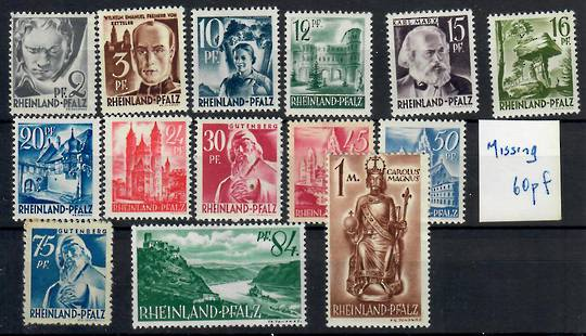 Allied Occupation of Germany RHINELAND-PALATINATE 1947 Definitives. Set of 15. - 22108 - Mint