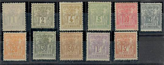 LUXEMBOURG 1882 Definitives. Simplified set of 11 excluding the 25c. The 5fr is SG 92 (£32). - 23727 - Mint