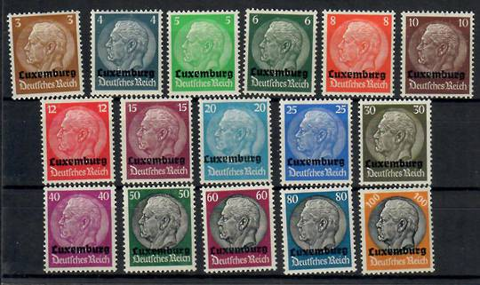 GERMANY Occupation Issues LUXEMBOURG 1940 Definitive Surchages on Germany Hindenburg set. Set of 16. - 23742 - Mint