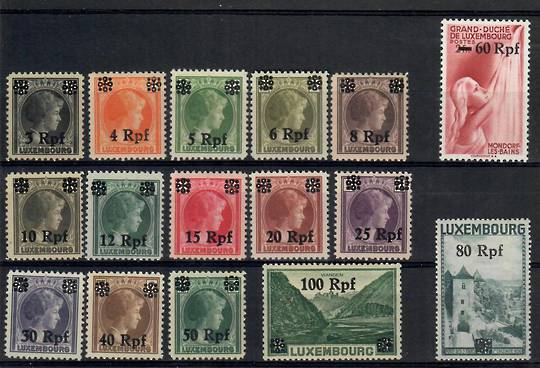 GERMANY Occupation Issues LUXEMBOURG 1940 Definitive Surcharges on various types of Luxembourg. Set of 16. - 23743 - Mint
