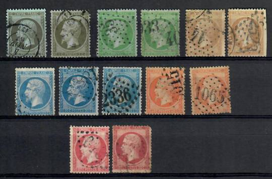FRANCE 1862 Definitives. Set of 13. Complete with all the colour varieties identified by the vendor A L Jenkin. Excludes the for