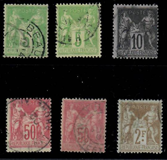 FRANCE 1898 Definitives. Tinted paper. Mixture of Types 1 and 2. Set of 6. - 24517 - Used