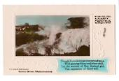 Coloured  Real Photograph of Kereru Geyser Whakarewarewa. Wishing you a Happy Christmas. - 246047 - Postcard