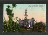Coloured postcard by Muir and Moodie of Town Hall Dunedin from the Octagon Gardens. - 249108 - Postcard