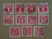 AUSTRIA 1908 Postage Due. Set of 11. Enamelled paper. - 25535 - Used