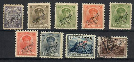 LUXEMBOURG 1924 Official. Set of 9. The 2fr is used. - 26235 - Mint