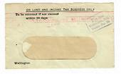 NEW ZEALAND 1918 Window envelope 31/7/18 On Land and Income Tax Business Only. Purple 1½d  Paid Wellington NZ Permit No 50. Slog