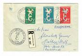 LUXEMBOURG 1958 Europa. Set of 3 on registered first day cover with the receipt. - 30478 - PostalHist