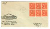 USA 1938 Dedication of the Franklin Institute. Postmarked at Philadelphia. 6 of the ½c definitive