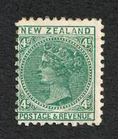 NEW ZEALAND 1882 Victoria 1st Definitive 4d Green. - 32 - UHM