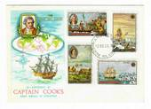 COOK ISLANDS 1968 Bicentenary of the First Voyage of Discovery by Capt James Cook. Set of 8 on first day cover. - 32105 - FDC