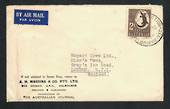 AUSTRALIA 1950 Airmail letter to Great Britain showing 2/- Aboriginal Art usage. From A H Massina & Co Pty Ltd. - 32218 - Postal