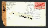 USA 1943 Airmail Letter from army serviceman. Postmark US Army Postal Service APO. Resealed by 6697. Corner damaged.