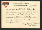 British YMCA Hostel HM Forces Beirut. Hostel pass for New Zealand Army Driver 1942. - 32373 - PostalHist