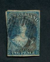 NEW ZEALAND 1855 Full Face Queen 2d Deep {Greenish) Blue. Imperf. Good colour. Postmark off face. Three margins. CP catalogue wi