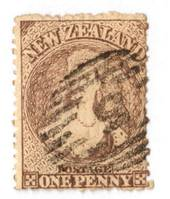 NEW ZEALAND 1862 Full Face Queen 1d Brown. Advanced plate wear.  Postmark over face. Nuumeral cancel 5. - 3582 - Used