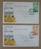 NEW ZEALAND 1941 Health. Set of 2. on two illustrated first day covers cancelled at Gisborne Health Camp on the opening day on t