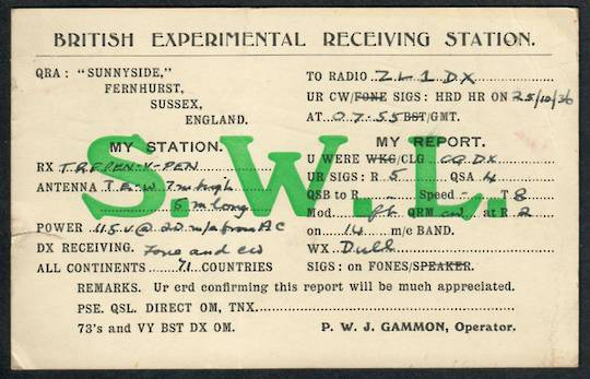 GREAT BRITAIN 1936 QSL card to New Zealand. - 38976 - Postcard