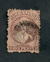 NEW ZEALAND 1862 Full Face Queen 1d Brown. Perf 12½. Watermark Large Star. Intermediate plate wear. Postmark detracts. Cat val b