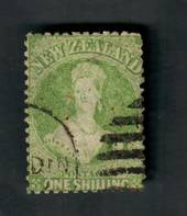 NEW ZEALAND 1862 Full Face Queen 1/- Yellow-Green. Perf 12½. Watermark Large Star. Postmark well off the face. - 39049 - Used