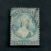 NEW ZEALAND 1862 Full Face Queen 2d Blue. Perf 12½.  Watermark NZ. Advanced plate wear. Postmark just touching the face. Light.