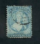 NEW ZEALAND 1862 Full Face Queen 2d Blue. Perf 12½. Watermark Large Star. Plate 1. Advanced plate wear. Postmark frames the face