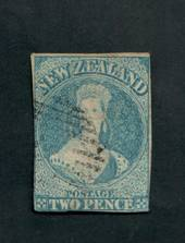 NEW ZEALAND 1855 Full Face Queen 2d Pale or Milky Blue. Imperf. Watermark Large Star. Cut closeall round and touching in places