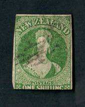 NEW ZEALAND 1855 Full Face Queen 1/- Green Imperf. Davies print. 2½ margins. Pinhole. Ligjt postmark. CP A6d(7) $1000/$200. - 39