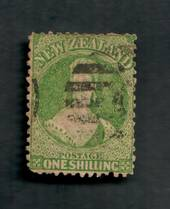 NEW ZEALAND 1862 Full Face Queen 1/- Green. Perf 12½. Watermark Large Star. Heavy postmark. Cat val by CP with faults from $35.0