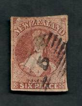 NEW ZEALAND 1855 Full Face Queen 6d Brown. Imperf. Touching down the right. Thin. Cat val by CP with faults from $75.00. - 39095