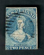 NEW ZEALAND 1855 Full Face Queen 2d Dull Deep Blue. White paper. No watermark. Two margins, cut along the frame on the other two