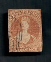NEW ZEALAND 1855 Full Face Queen 6d Brown. White paper. No watermark. Cut along the frame, one good margin. Nice cancel, off fac