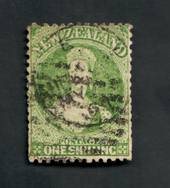NEW ZEALAND 1862 Full Face Queen 1/- Green. Postmark not too heavy but over the face. Some slightly trimmed perfs. - 39238 - Use